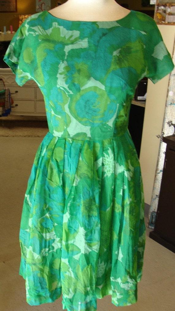 kelly green 1950's SILK CHIFFON party DRESS bateau neckline S