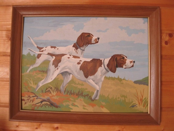 Vintage Paint By Number Dog Painting 1950's or 1960's Brown & White Pointers - FREE SHIPPING in the USA