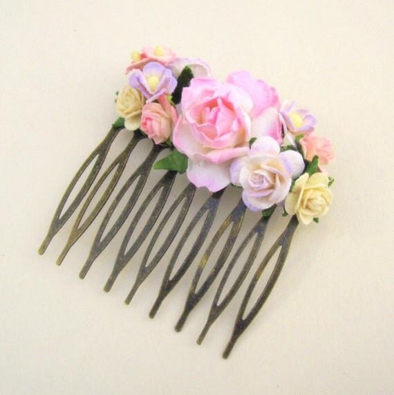 Pink and Cream  Floral Haircomb Fascinator Vintage Wedding Haircomb Bridal Bridesmaid Accessory