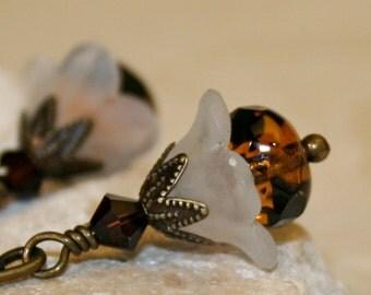 Lucite flower earrings, white flower dangle earrings, brown earrings