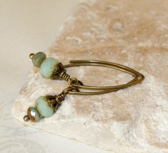 Dainty Earrings, Opal Earrings, Opal picasso czech glass earrings, mint green, aqua blue