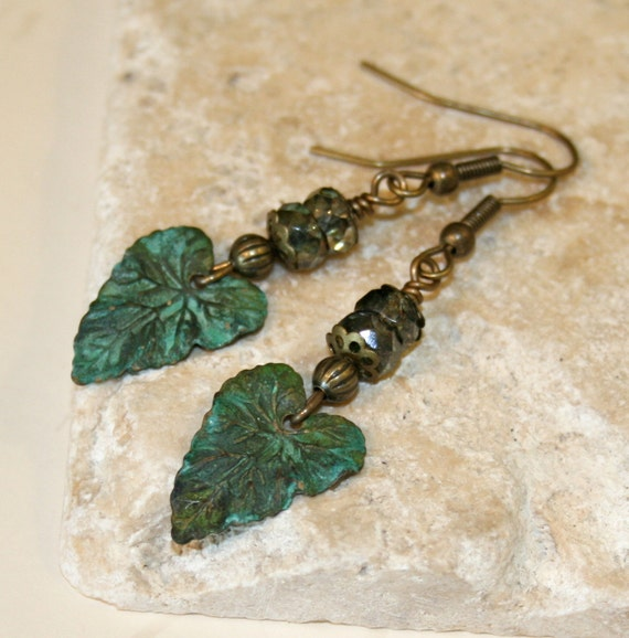 Distressed metal Earrings, Verdigris patina jewelry, Picasso Czech Glass Beads, Green Leaf Earrings