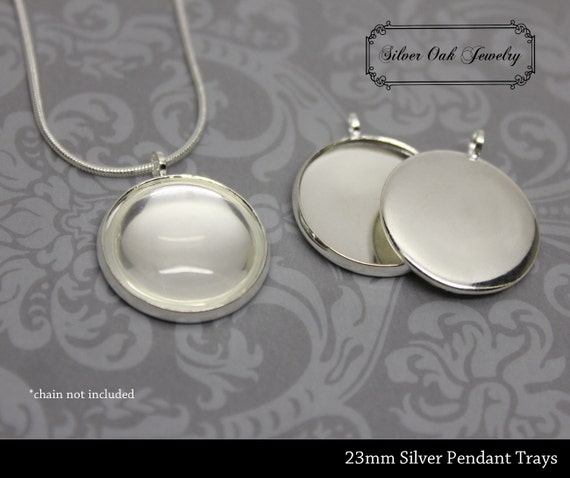 Set of 10 - 21mm Silver Plated Pendant Trays w/ Glass Covers