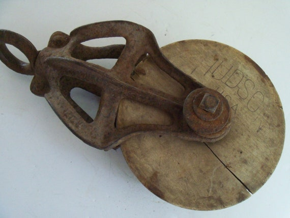 Large Rustic Pulley Primitive Cast Iron Wooden Antique Tool