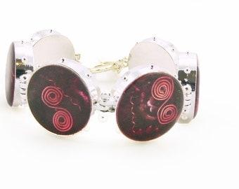 Orgone Energy Bracelet - Red Garnet Gemstone - Statement Bracelet - Deep Cabernet Red Bracelet - Artisan Jewelry