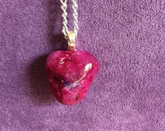 Blood red crystal glass pendant.