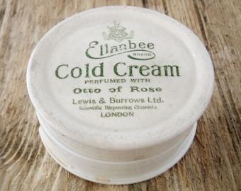 REDUCED English Edwardian glazed ceramic cold cream pot London circa 1910