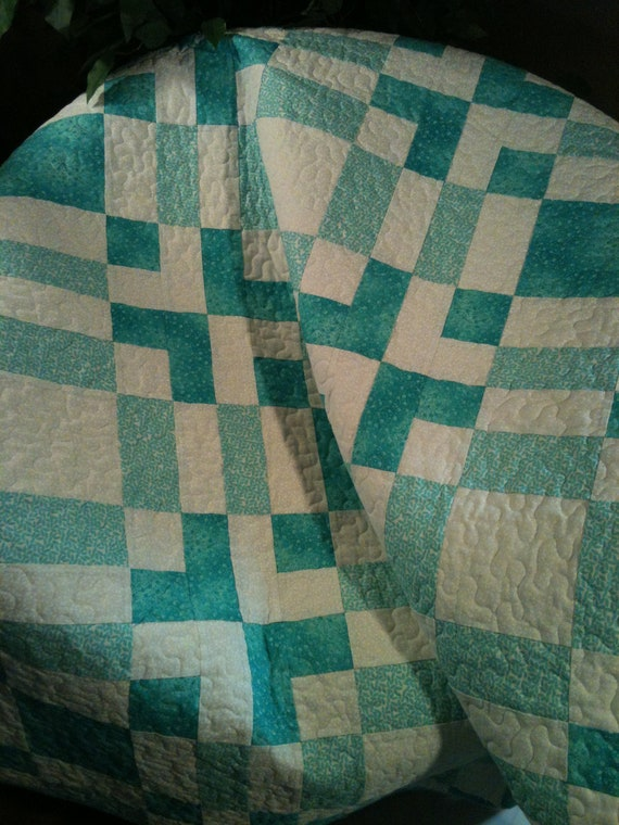 """Aqua and White Blend Soothingly In This 41"""" X 54"""" Quilt"""