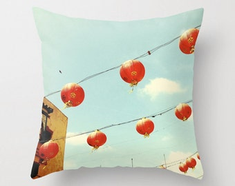 Chinatown Red Lanterns Sofa Pillow, Paper Lanterns Accent Pillow, Red Aqua Throw Pillow Cover, 18x18 22x22 Decorative Pillow Cushion