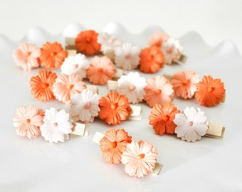 Peach Orange Ombre Flower Clips for Fall Weddings Birthday Party Decorations Autumn Cupcake Toppers Place Card Holders Wish Clips Set of 12
