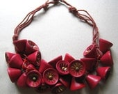 Frank Hess Miriam Haskell Red Wood Bell Necklace Celluloid Chain costume jewelry unsigned jewelry