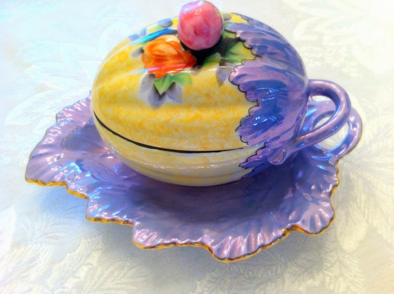 Vintage Sugar Bowl , Jelly Dish, Acorn Shape, Irridescent , Purple, Yellow, Rosebud , Tableware , Serving