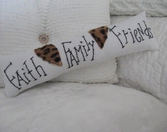 "Pillow Slim White ""Faith Family Friends"" Black Lettering with Animal Print Hearts Home Decor"