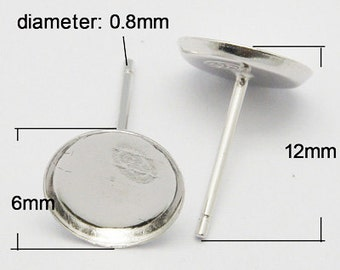 s00605  - 1 Pair Sterling Silver Ear Stud Components, about 12mm long, 0.8mm thick, tray about 6mm in diameter