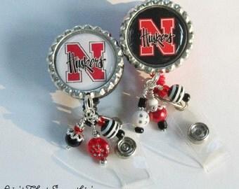 Nebraska Huskers Inspired Retractable Badge Reel - Sports Badge Reel - Football ID Holder - Beaded Badge Pulls - Cute ID Reels