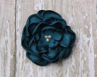 30 Colors Small Satin Flower Hair Clip, Teal Flower Hair Clip
