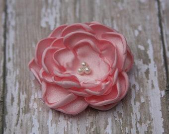30 Colors Small Satin Flower Hair Clip, Light Pink Flower Hair Clip