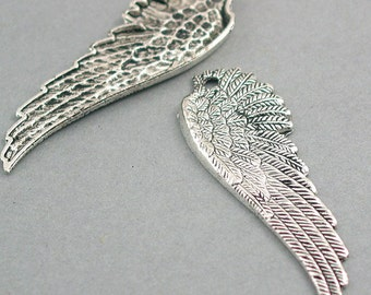 Long Feather Wing Charms Antique Silver tone 4pcs base metal Charms 17X50mm CM0304S
