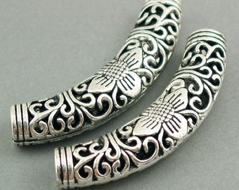 Flower Slide Tube Curved Antique Silver tone 2pcs 10X54mm BS01024S