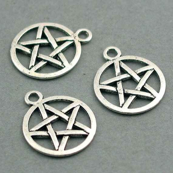 Pentagram Star Charms Antique Silver 8pcs base metal 16mm CM0277S