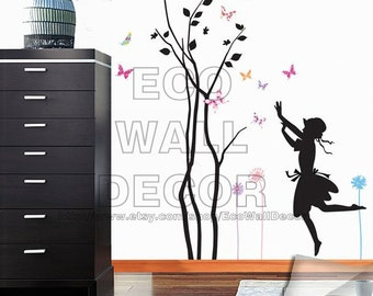 PEEL and STICK Removable Vinyl Wall Sticker Mural Decal Art - Flower Girl
