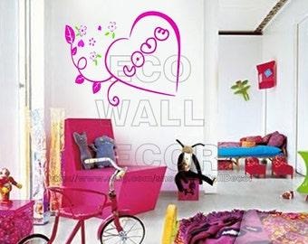 PEEL and STICK Removable Vinyl Wall Sticker Mural Decal Art - Hot Pink Love Flowers