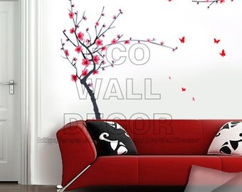 PEEL and STICK Removable Vinyl Wall Sticker Mural Decal Art - Japanese Pink Cherry Blossom Tree with Butterflies Decal