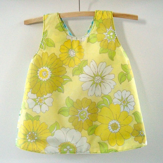 Baby pinafore jumper sundress size 2, 70s style ecofriendly upcycled fabrics handmade lemon yellow and green pillowcase ready to ship