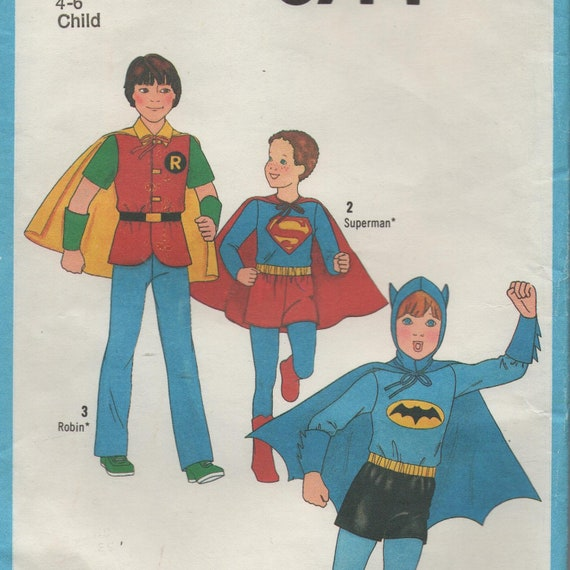 Superhero comic pattern Batman, Superman, Robin, Boys kids girls costume dress ups dressing up halloween 4 - 6, Simplicity 871 unused, uncut