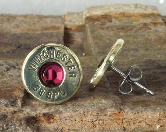 Bullet  Earrings - July Birthstone - Winchester 38 SPL Ultra Thin - Ruby