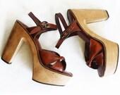 70s Wooden Platform Heels / Sky High / Size 6