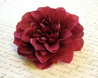 Fabric Flower Pin or Hair Clip - Dark Pink / Cranberry Red Dahlia - Large
