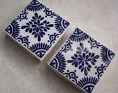 Vintage Ceramic Tile Made in Mexico and Painted in Navy Blue and Off White  4x4 Patterned Set of 4