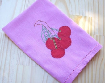 Mid Century Hand Stitched Linen  ~  Pink with Cherries Table Scarf  ~  Vintage Table Scarf