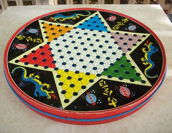 Vintage Chinese Checkers Game Board Metal Chinese Checkers