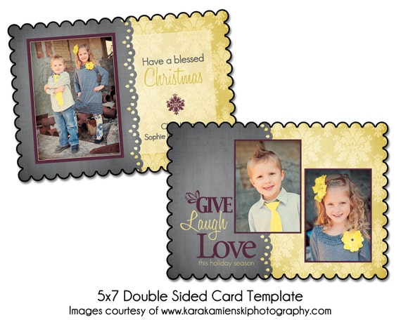 PSD Holiday Card Template - BLESSED CHRISTMAS