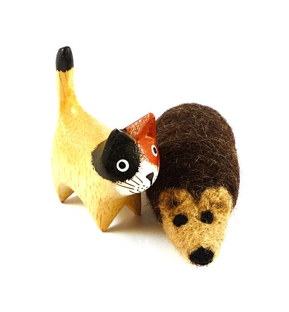 Woodland Hedgehog Wool Catnip Cat Toy