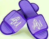 5 Pairs Of Monogrammed Cotton Waffle Spa Slippers For Bridal Party Gifts 15 Color Options