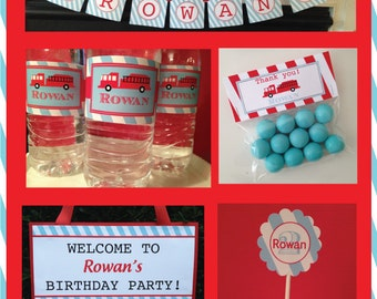 Fire Engine Party Package, Fire Engine Birthday Party Package, Red and blue, Printable, FIre Truck