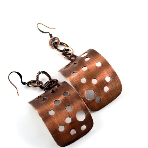 Dangle copper earrings. Big, long,  stylish metal jewelry.  Designed in Fashion Brand Faina studio.