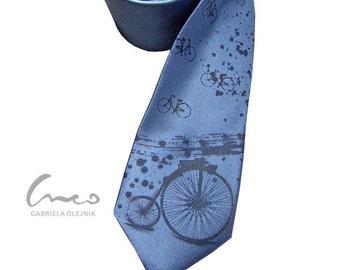 Retro vintage bicycle tie. Print on narrow necktie - present for men