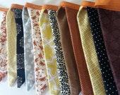 Fall Fabric Bunting Banner Garland/ Rust Brown Mustard Teal Black