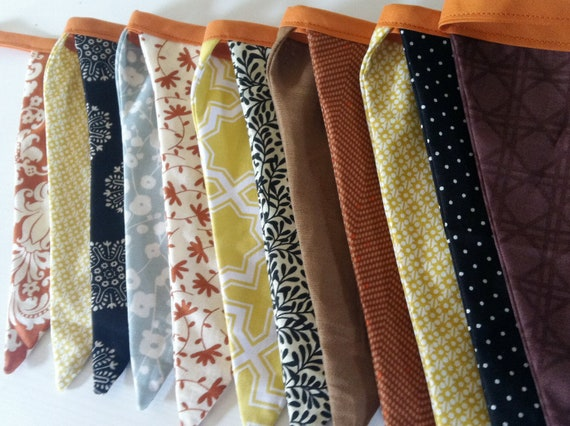 Fall Fabric Bunting Banner Garland/ Rust Brown Mustard Teal Black