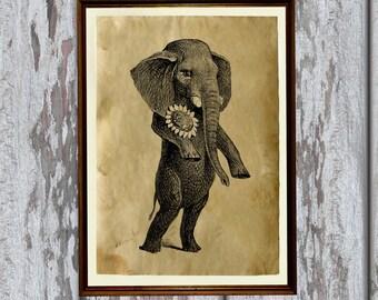 Vintage decoration Cute elephant print Antique home decor 8.3 x 11.7 inches AK138