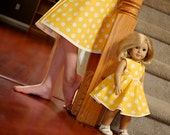 American Girl 18 inch Doll dress and matching girl skirt - Sunshine Yellow