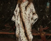 tissavel faux fur coat with embroidered crinkle crepe lining