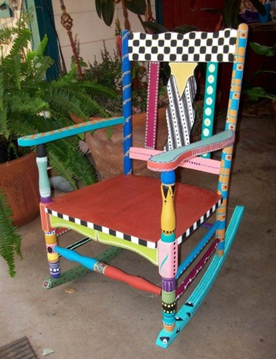 Items Similar To Hand Painted Rocking Chair Free