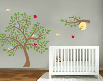 Nursery decals - Children tree decal - Vinyl wall decal - bird tree - Bee tree - Bee hive decal