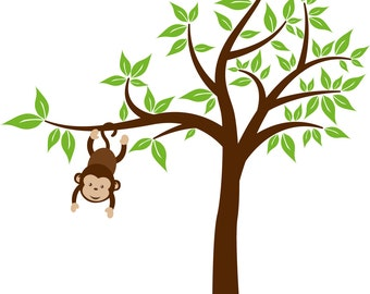Monkey tree - Wall decals - Nursery decals - Wall stickers - Vinyl wall art decal - Tree decal - hanging monkey
