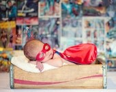 Newborn Superhero CAPE and MASK costume - Reversible Personalized Halloween Photography Prop for Infant and Baby